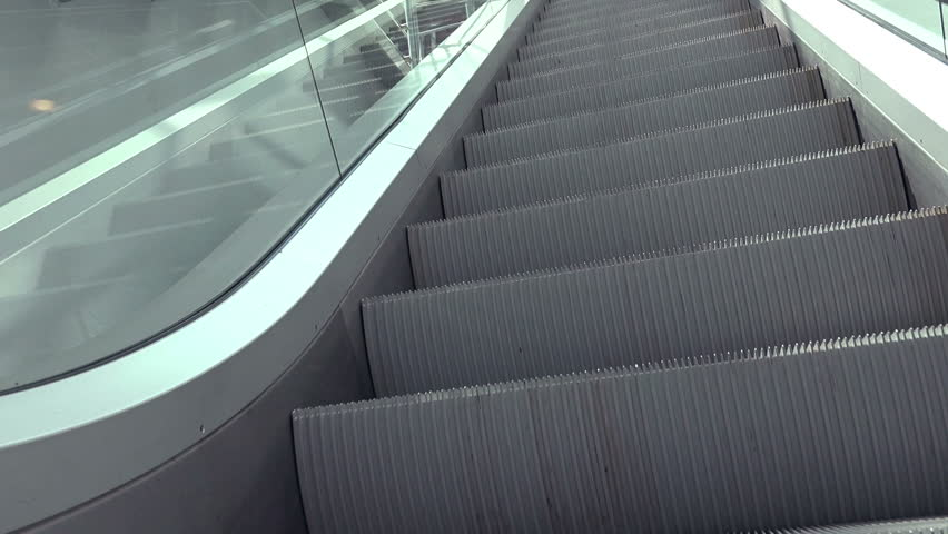 Escalators In Modern Urban Interior, Moving Staircase As EAsy Opportunity  Or Success Concept.