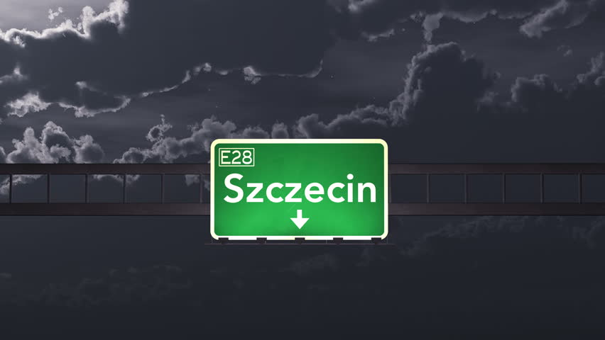 4K Passing under Szczecin Poland Highway Road Sign at Night Photo Realistic 3D Animation with Matte 4K 4096x2304 ultra high definition