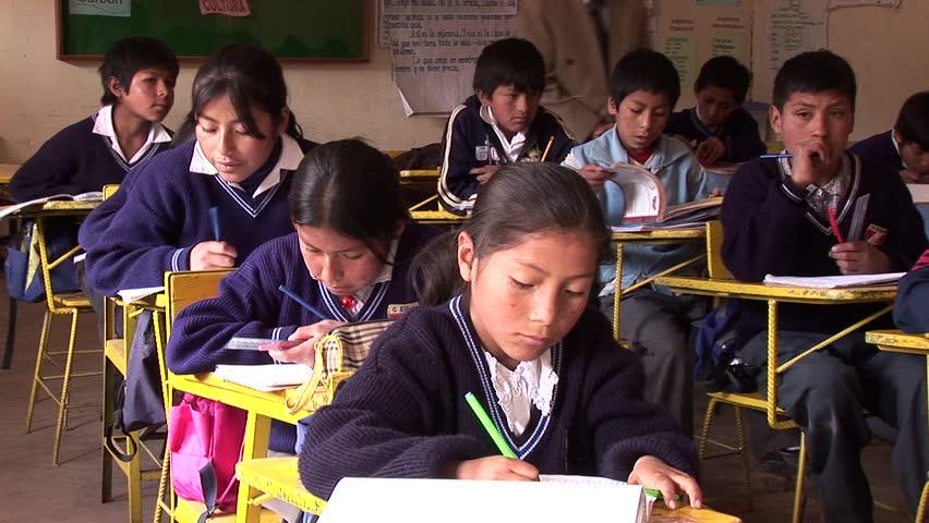 Cusco, Peru, South America. October 2007 Video footage of schoolchildren in a classroom in Cusco, Peru, South America. October 2007