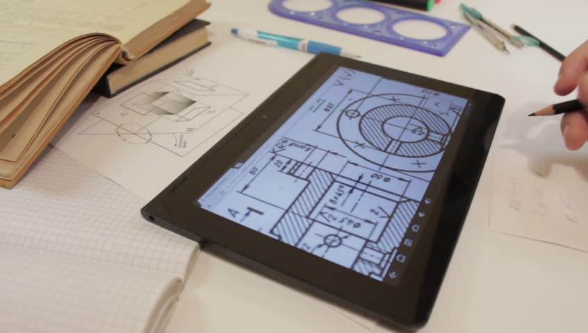 Persona Using Tablet Pc In The Engineering, Architecture, Design. Using Tablet Pc In The Work. Descriptive geometry. 2D representations of the same 3D object. | Shutterstock HD Video #10026026