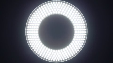 Circle led panel with different versions of the glow on black background