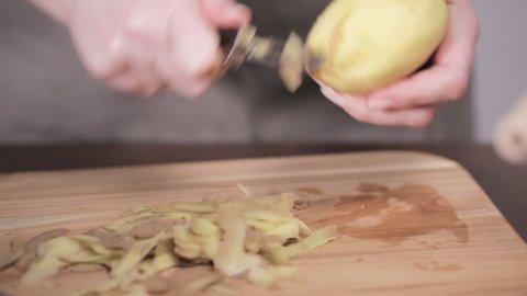 Step by step. Peeling Yukon gold potatoes for creamy mashed potatoes.
