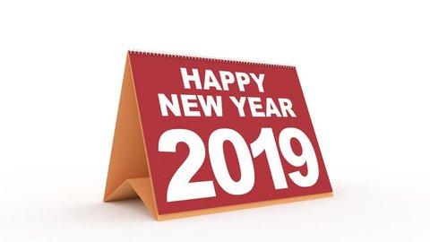 desk calendar for 2019. new year 2019 calendar in english