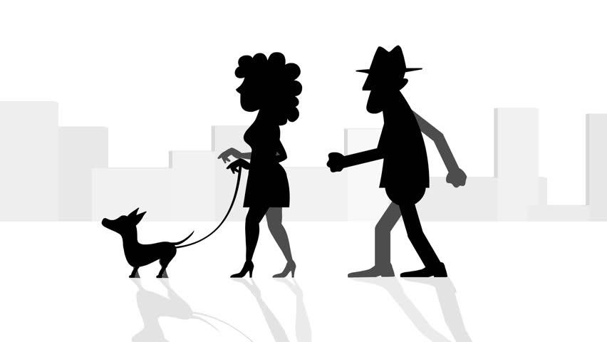 Woman and a man walking a dog, HD, loop.