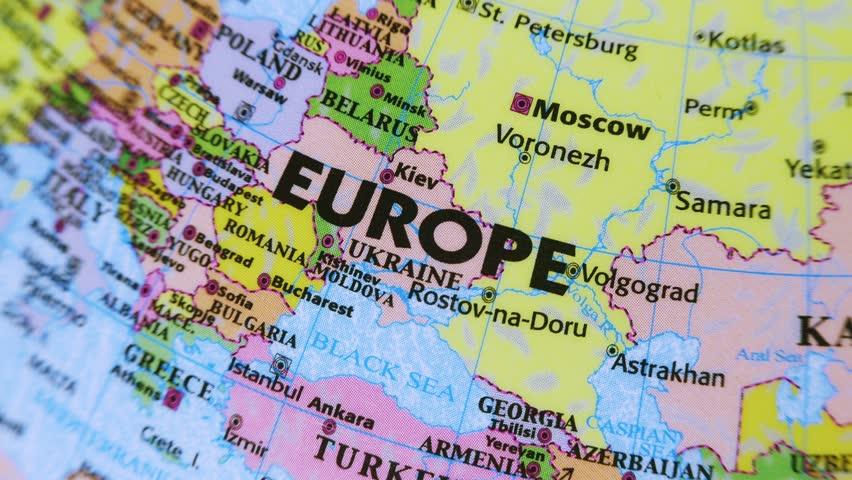 Europe. Terrestrial Globe 4K Terrestrial globe rotates and stops at Europe.