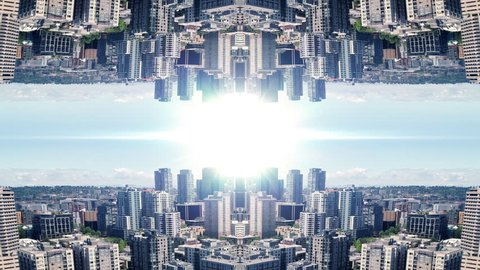 Powerful Business Background of Mirror City Aerial and Bright Light Flare