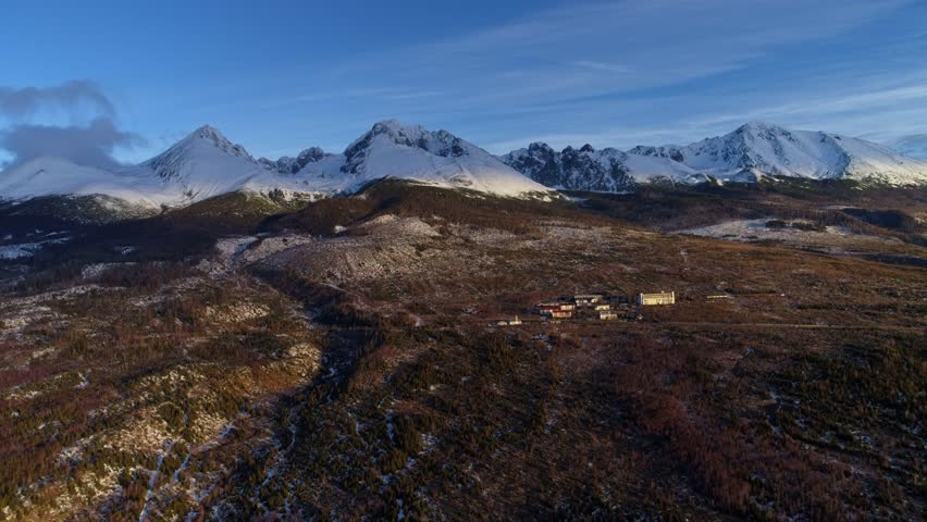 Aerial drone morning view of Tatra Mountains, Slovakia | Shutterstock HD Video #1006629916