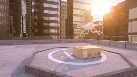 Drone takes away a parcel on a building roof. Beautiful conceptual 3d animation, 4K