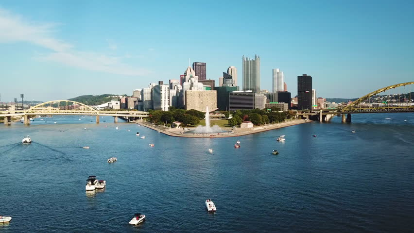 PITTSBURGH, PENNSYLVANIA - CIRCA 2010s - Beautiful aerial of the Monongahela River to Pittsburgh, Pennsylvania downtown skyline.