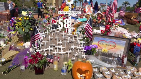 LAS VEGAS, NEVADA - CIRCA 2017 - a makeshift memorial at the base of the Welcome to Las Vegas sign following Americas worst mass shooting.