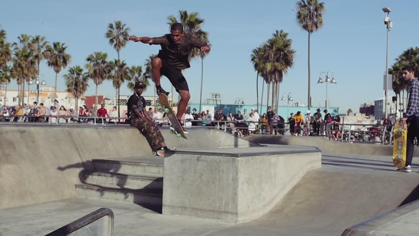 LOS ANGELES - January 09: Skateboard Trick in Slow Motion, Venice Beach Skate Park on January 09 2018 in Los Angeles, California USA