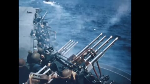 CIRCA 1940s - All branches of the military come together to fight in the Battle of Midway.