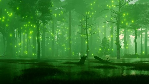 Dreamlike woodland scenery with mystic firefly lights flying over spooky swamp in a dark mysterious night forest. Fantasy 3D animation rendered in 4K