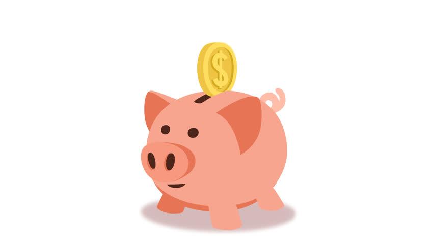 Cartoon Animation, Pig Piggy Bank For The Money, Yellow ...