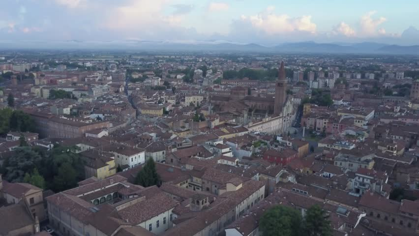 Aerial video shooting with drone on Piacenza, famous and ancient Emilia Romagna city, founded near the Po river in northern Italy