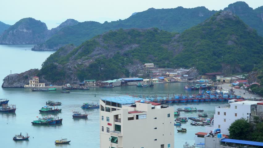 A bay in Vietnam.Panoramic landscape view of Cat Ba City of Cat Ba Island, Vietnam..
