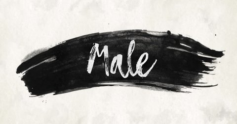 Ink wash watercolor brush stroke texture background slogan text Male