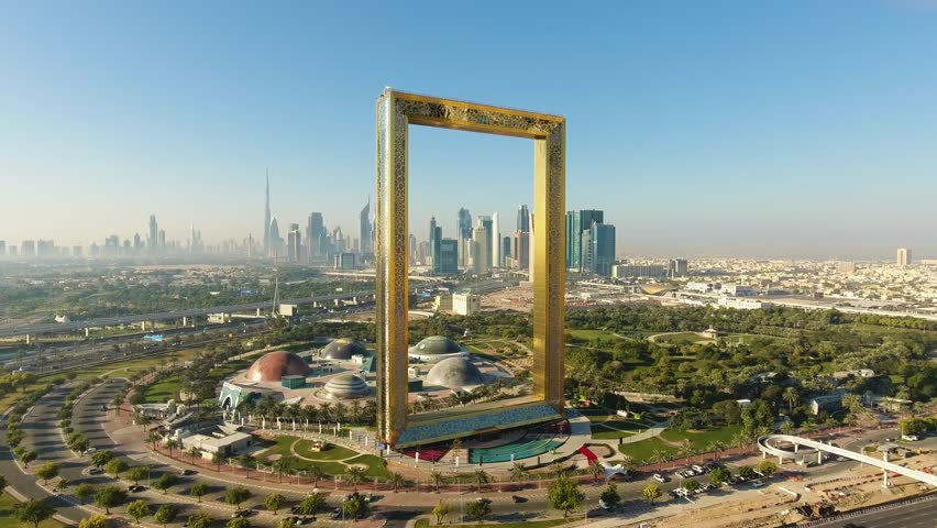 Dubai, UAE - January 11, 2018: Dubai Frame Aerial View 2
