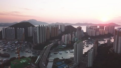 Aerial view of Southern Hong Kong at Aberdeen Typhoon Shelter and Buildings