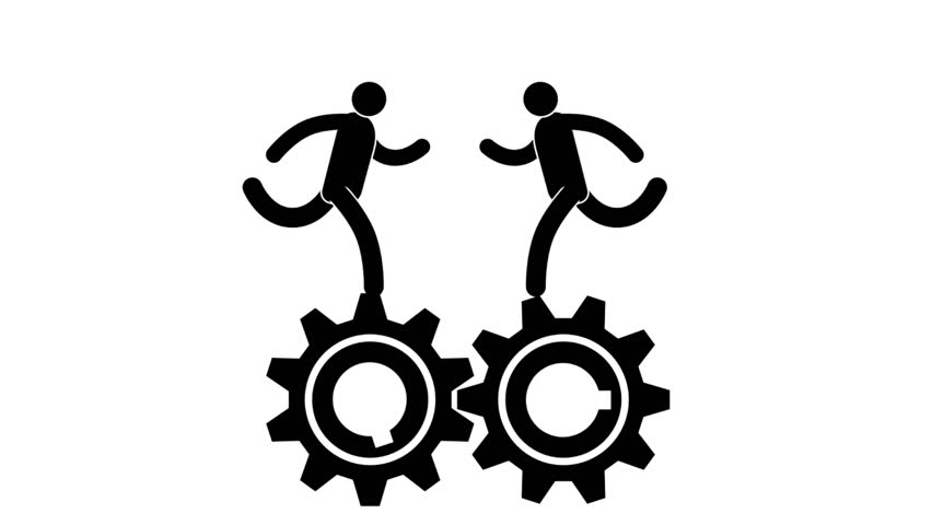 Icon people run and twist the interacting gears - metaphor to the team work. Looped animation with alpha channel.