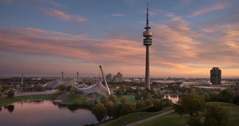 Sunrise at Olympic Park Munich, Bavaria, Germany, Europe, Public Ground - 4K Time Lapse Video - Fast night to day transition
