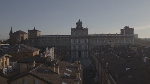 Aerial footage drone sunset view of Modena Square PALAZZO DUCALE PALACE italy // no video editing
