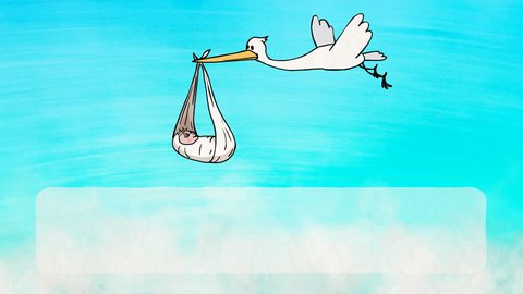 Animated greeting card: 2D Cartoon Funny Character Stork Bringing a Newborn Baby. Frame for the text below. Colorful background with clouds. Animation looped.
