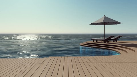 3D rendering footage of 2 daybeds and white umbrella on curve wooden terrace, step floor, sea view, infinity swimming pool. Cinemagraph style