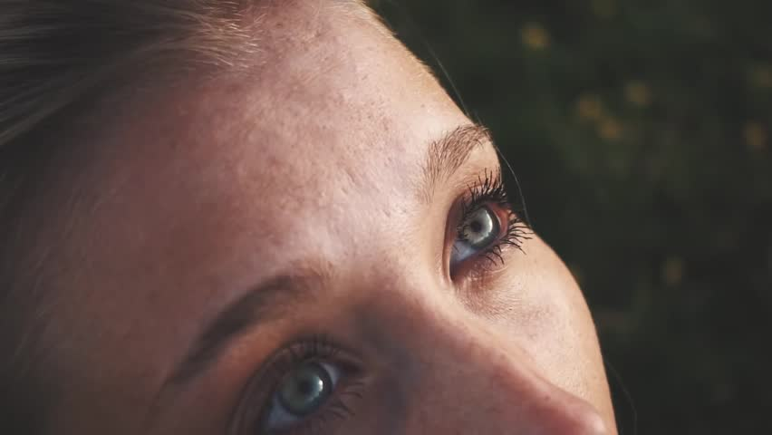 Close up portrait of Woman looking up at nature, slow motion hopeful hiker face | Shutterstock HD Video #1007025946