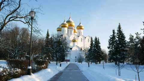 View of the Uspensky cathedral on a sunny winter day. Russia, Yaroslavl.