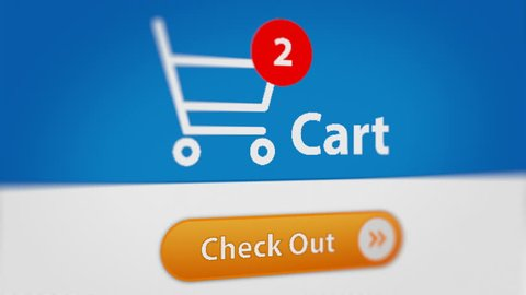 Close up Shot of Mouse Cursor Clicking Check Out Button. Online Shopping Checkout Process.