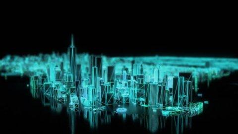City neon glowing DOF model New York NYC flyover wireframe skyscraper 80s 4k