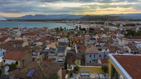 4K Timelapse panoramic view from above Nafplio city, Greece