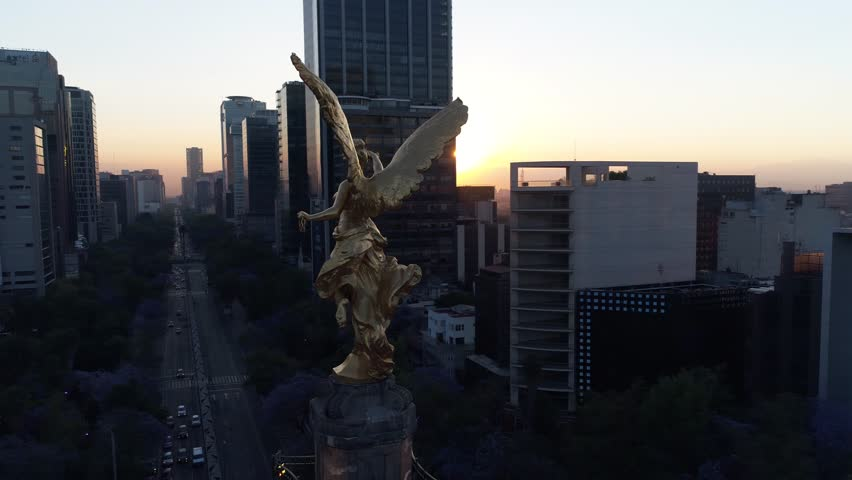Angel de la Independencia Aerial Drone Day Dia