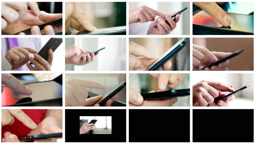 Collage of different people hands texting or typing SMS on smartphones. They using cell phones and smart phones. Technology and communication concept. 8K UltraHD (UHD) video | Shutterstock HD Video #1007261326