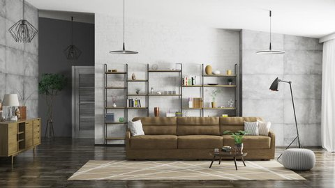 Home interior of modern apartment, living room, hall animation