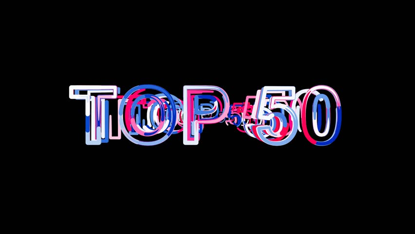 Letters are collected in best TOP 50, then scattered into strips. Bright colors. Alpha channel Premultiplied - Matted with color black | Shutterstock HD Video #1007307766