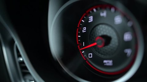 Sporty Car Dashboard Instruments. Rounds Per Minute Display. Modern Vehicle Dash Informations.