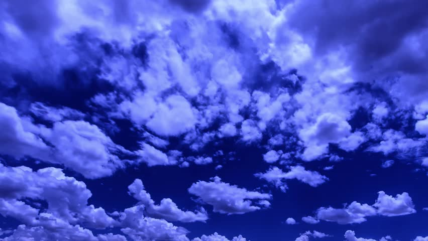 FAST MOTION EVENING DARK CLOUDS, NIGHT BLUE DARK SKIES. White, real, nice, soft clouds & blue sky, Dark purple clouds day to night sky, Transition from day through night. Fast moving. ULTRA HD, 4K.