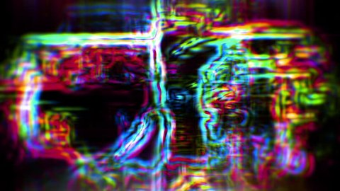 Abstract data forms flicker and shift (Loop).