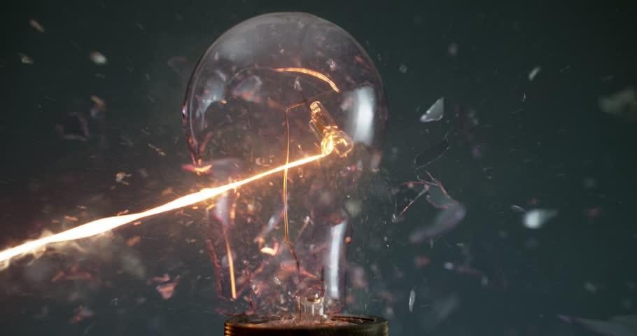 Lightbulb exploding super slow motion shot with Phantom Flex at 1000 frames per second | Shutterstock HD Video #1007333026