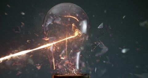 Lightbulb exploding super slow motion shot with Phantom Flex at 1000 frames per second