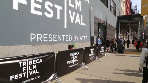 NEW-YORK - APRIL 16, 2015: Sign of Tribeca Film Festival