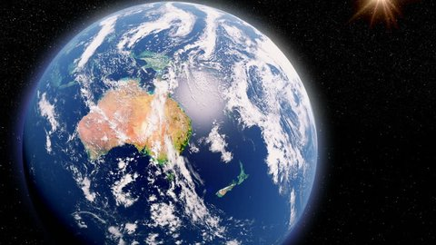 New Zealand, Earth Globe, View From Space