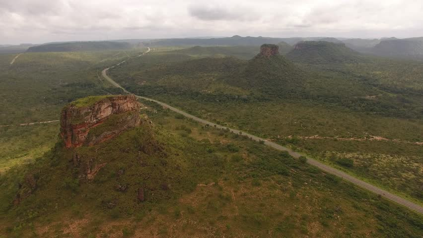 Sandstones hill at Chapada das Mesas National Park, and the federal road BR-230, also known as Transamazônica Highway