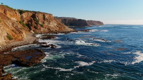 Aerial Video flying over tide pools on the Palos Verdes, California Coast.