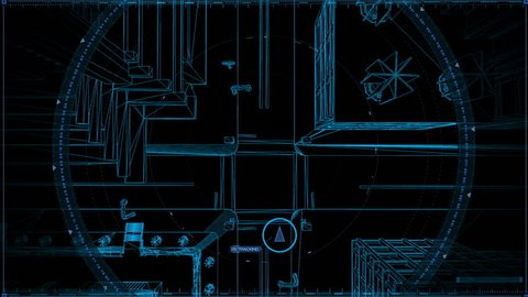 Wireframe City Tracking Target, With Blue Background, Top View from above, Pursuing The Target.