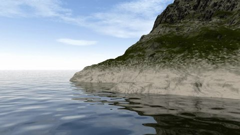 Rocky beach animation, a beautiful landscape with stones in the sea  the background is a sky with white clouds.