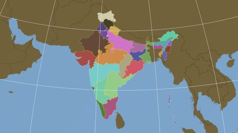 Manipur extruded on the administrative map of India. Solid colors used.