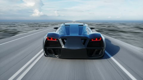 black futuristic electric car on highway in desert. Very fast driving. Concept of future. Realistic 4k animation.